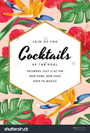 cocktail party invitation tropical theme stock vector 679074340