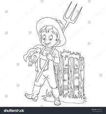 coloring page cartoon farmer pitchfork pig stock vector 708927478