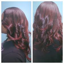 coke blowout hairstyle custom color cherry cola sew in three bundles malaysian hair