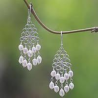 pearl chandelier pearl chandelier earrings pearl earrings at novica
