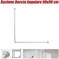 supporto tenda doccia asta tubo per tenda doccia e vasca 90x90 cm colore bianco