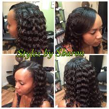 black crinkle hairstyles partial sew in with crinkle curls stylez by sharon pinterest