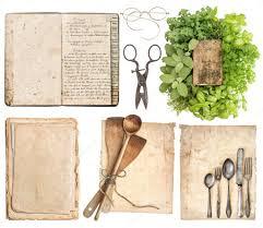 vieux livre de cuisine ustensiles de cuisine livre de cuisine antique pages papier âgés