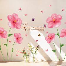 pink flower wall stickers living room bedroom wall art decals