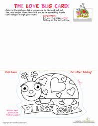 printable valentine cards love bug worksheet education com