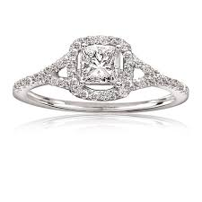 princess cut engagement rings white gold ctw princess cut pavé engagement ring 14k white gold