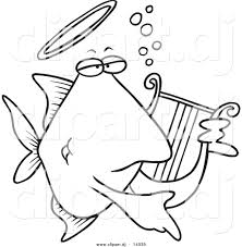 vector of cartoon angelfish playing a lyre coloring page outline