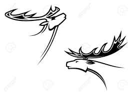 deer mascots in tribal style for or another design