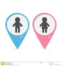 Man Woman Bathroom Symbol Map Pointer Set Man Woman Icon Pink And Blue Round Markers