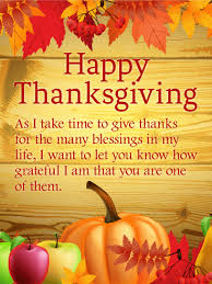 thanks for the many blessings happy thanksgiving card birthday