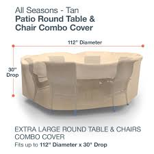Large Round Patio Furniture Cover - amazon com budge all seasons round patio table and chairs combo