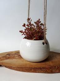 small hanging planter spotted milky white hanging planter