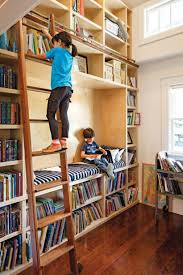 home library with ladder and a reading nook homadein