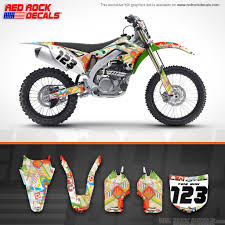 custom motocross bikes kawasaki crazy colour custom mx graphics decals full set kit