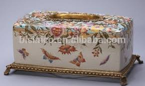 decorative tissue box floral painting porcelain tissue box with bronze