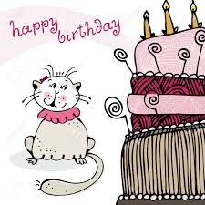 birthday card with happy cat and cake royalty free cliparts