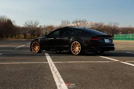 black audi black audi rs7 with gold vossen wheels gtspirit