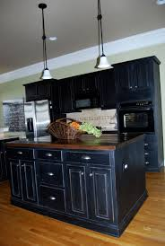 Distressed Kitchen Cabinets Pine Wood Colonial Glass Panel Door Black Distressed Kitchen