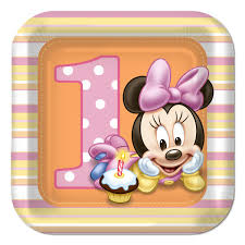 baby minnie mouse 1st birthday minnie mouse 1st birthday dessert plates 8 at dollar carousel