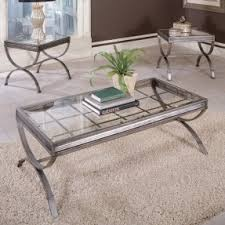 Metal And Glass Coffee Table 3 Piece Glass Coffee Table Sets Foter