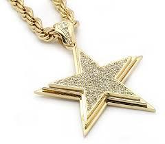 gold big chain necklace images Mens 14k gold big star cz pendant hip hop 30 inch 10mm rope jpg