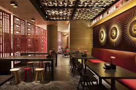 chinese restaurant interior design idea with touched red and fancy