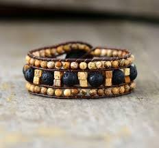 leather wrap bracelet with stones images Handmade picture japser and lava stone leather wrap bracelet the jpg