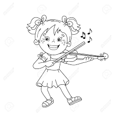 coloring page outline of cartoon playing the violin musical