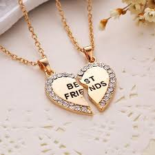 heart chain choker necklace images Best friends diamond heart necklaces madison audrey jpg