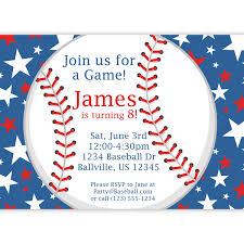 5th birthday party invitation baseball party invitation red white and blue star baseball