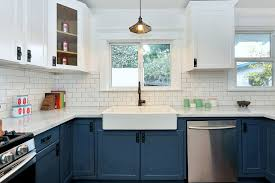 blue kitchen cabinets white island and best 25 ideas on pinterest