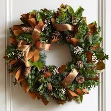 ribbon wreath copper ribbon wreath williams sonoma