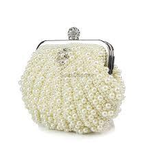 sac mariage pochette mariage ivoire forme coquillage aux perles simili sac à