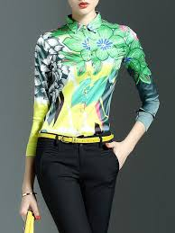 floral blouse green floral v neck polyester casual blouse stylewe com