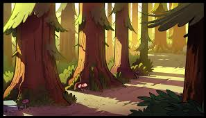 layout gravity one of the bg s that i painted for the gravity falls intro ink and