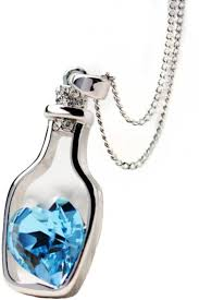 metal heart necklace images Staybeautiful blue heart bottle shaped pendant chain silver jpeg