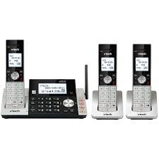 vtech 3 handset cordless phone with answering machine and caller