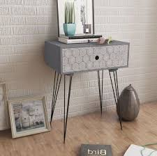 grey metal bedside table industrial side table grey 1 drawer metal hairpin legs hallway unit