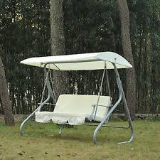 patio swing bench canopy chair 3 person frame covered sand