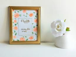baby name sign watercolor nursery decor floral name sign