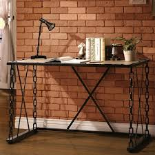 Distressed Computer Desk Industrial Distressed Rustic Finish Chain Link Design Home Office