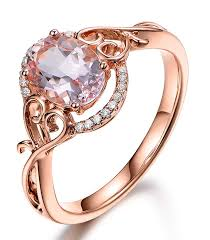 antique rose rings images Morganite solitaire with accent wedding ring 10k rose gold ebay jpg