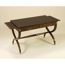smith warm walnut veneer writing desk antique brown leather top