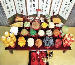 jesasang ceremonial table setting on chuseok travel korea