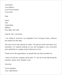 two week notice letter example official two weeks notice letter