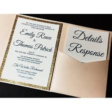 Formal Wedding Invitations Blush And Gold Glitter Wedding Invitation Luxury Pocketfold