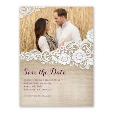 burlap and lace save the date card s bridal bargains