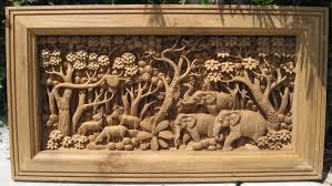 carved elephants teak panel