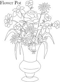 pot plant clipart line drawing flower pencil and in color pot