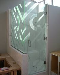 decorative glass for the bathroom adds a custom flair sans